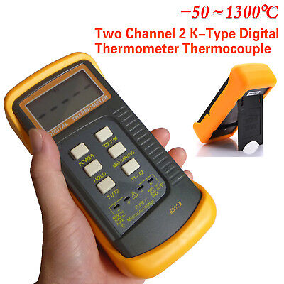 Newest Dual Two Channel 2 K-Type Digital Thermometer Thermocouple Sensor 1300°