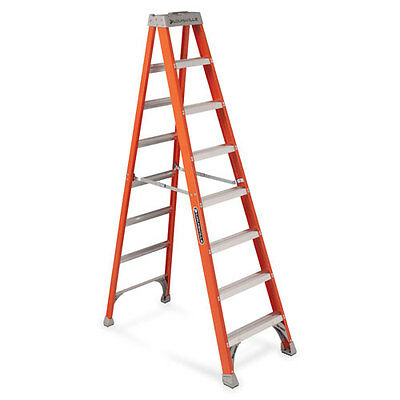 "Louisville 8' Fiberglass IA Step Ladder 25-1/2""x7""x98"" Orange FS1508"