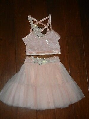 Girls Custom Dance Costume Pink 2 Piece Size Child Small