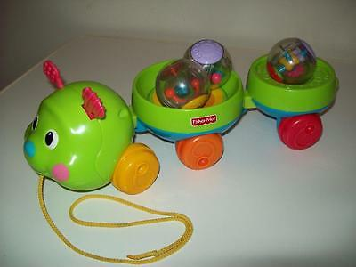 Fisher Price Roll-A-Rounds Pull & Spin Caterpillar w/3 Roll-a-Rounds FREE SHIP