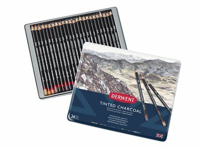 Derwent Tinted Charcoal 24 Tin Set - Selection of Natural Tone Colour Pencils
