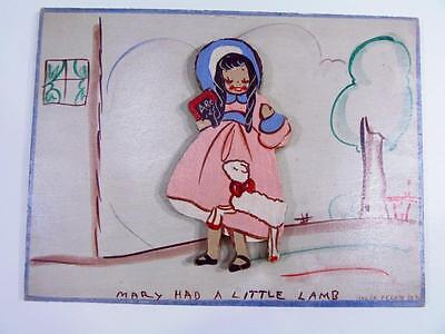 Vintage Mary Had a Little Lamb UNCLE BERNIE Painted Wooden Nursery Wall Plaque