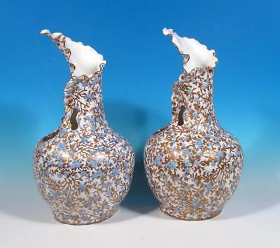 Old Paris PAIR Antique French Porcelain Japonisme Blue Gold Prunus Decor Vases