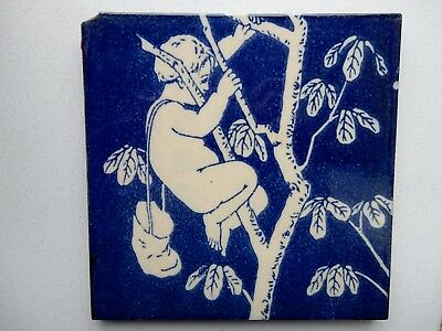 Antique 19th century blue and white ceramic tile, boy, fairy in tree