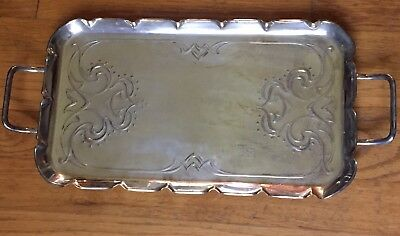 Antique Art Nouveau JS&S Tray England Dble Handle Sankey Silverplate Superb !