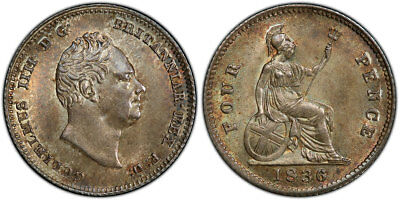 GR. BRITAIN William IV. 1836 AR Fourpence, Groat. PCGS MS65. KM 723; SCBC-3837.