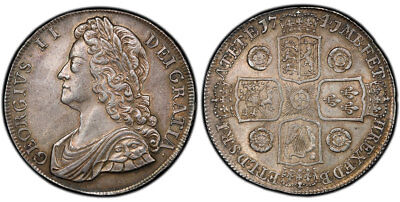 GR. BRITAIN George II. 1741 AR Crown. NGC MS62. SCBC-3687; Dav.-1348.