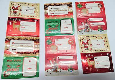 New 150pc Christmas Gift Labels Foil Xmas Present Label Self Adhesive Sticky Tag