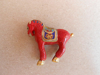 Vintage Chinese Cloisonne Horse w/Red Lacquer and Gold Accents