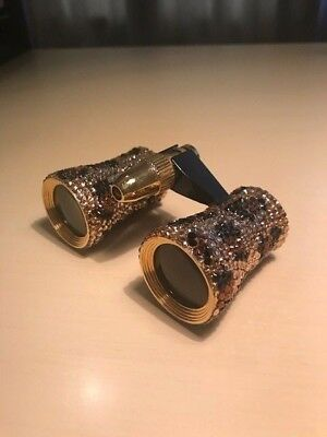 Crystal Leopard Design Mini Theatre Binoculars Opera Glasses