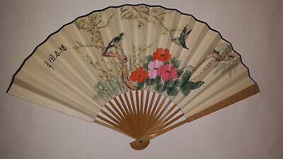 Chinese hand painted paper leaf fan with calligraphy on reverse