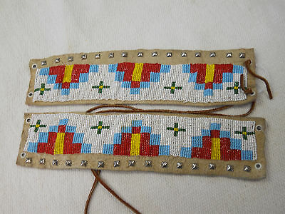 Vintage Native American Northern Plains Indian Loom Beaded Arm Bands. NICE ONES!