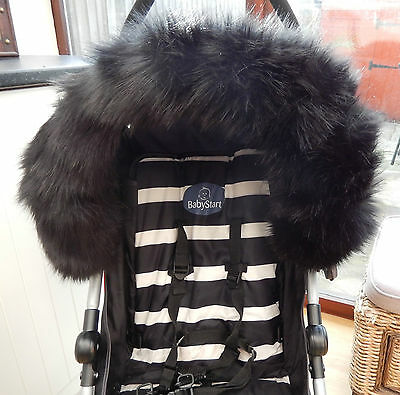 Pram Pushchair Black Faux Fur Hood Trim - Fits All Hoods  - Stunning
