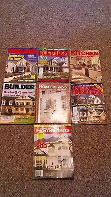 LOT OF 7 ASSORTED HOME BUILDING PLANS MAGAZINES FROM THE 1990'S & 1 From 1980's