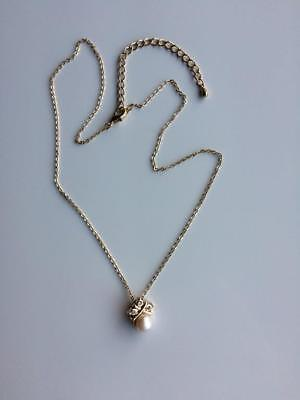Vintage Gold Tone Pendant with Faux Pearl & Crystals Drop Necklace 1970s