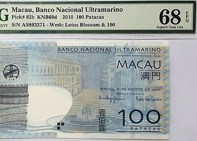MACAU-100 PATACAS-2010-PICK 82b **PMG 68 EPQ SUPERB GEM UNC**VERY SCARCE GRADE**