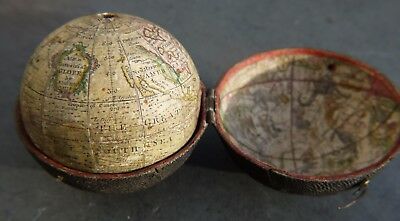 A Rare 2.75 Inch Diameter 18Th Century Pocket Globe By Nathaniel Hill Dated 1754