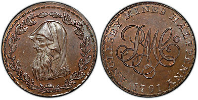 GR. BRITAIN Wales, Anglesey. 1791 CU Halfpenny Token. PCGS MS65BN Druid D&H-405