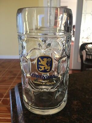 "Vintage Lowenbrau  - dimpled glass  Beer Stein 1L 8"" Tall"