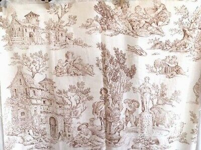 Antique French Toile Fabric Brown and Ivory Pastoral Farm Animals 19th C