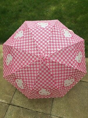 Hello Kitty Pink & White Bow Umbrella With Sleeve. Collectible.