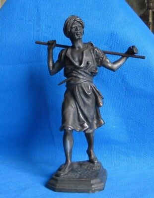 Statue Negro Man Made Of Spelter & Bronze In Early 1900s Striking Figure