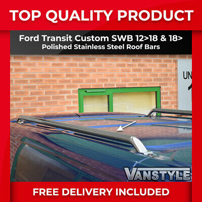 Ford Transit Custom Polished Stainless Steel Roof Rails Bars Rack Chrome Tourneo
