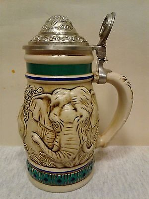 Stein Mug Handcrafted in Brazil / Endangered Species The Asian Elephant