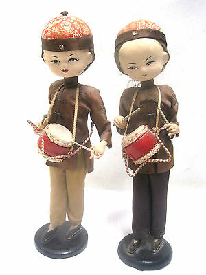 """Lot 2 Asian Chinese 13"""" Dolls Pair Vintage Antique Drums Hawaii"""