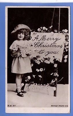 Old Vintage 1906 Rp Postcard Christmas Xmas Noel Yuletide Young Girl Paints