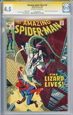 Amazing Spider-Man The Lizard lives! #76 - CGC 4.5 OWW SS VG+ Signed by Stan Lee