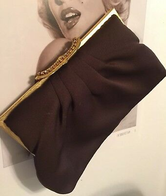 VINTAGE MAGID 1950s Brown Silky Ruched Rhinestone clasped Deco Clutch hand Bag