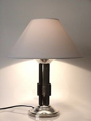 Lampe De Salon Bureau  Art Déco Moderniste Metal Argente & Fer Forge Table Lamp