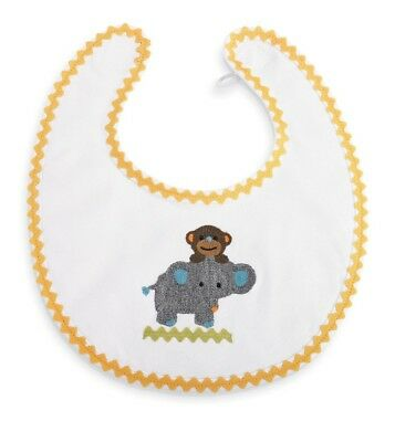 New Mud Pie Baby Unisex Baby Boy or Girl Safari Cotton Monkey & Elephant Bib