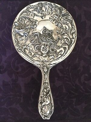 Vintage Antique Art Nouveau Maiden Face Floral Silver Plated Vanity Hand Mirror