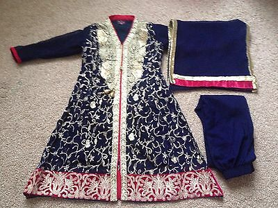 girls indian pakistani sz 24 navy gold pink/red anarkali shalwar dress gown styl