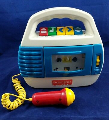 1997 Fisher Price Toy Model # 73801 Cassette Tape Player Recorder Mic Vintage