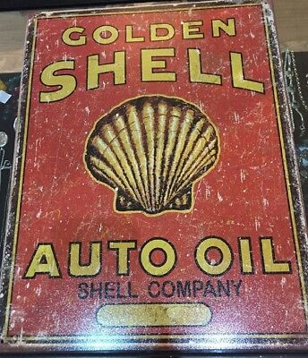 Golden Shell Metal Sign Auto Oil Shell Co. Poster Vintage Style Decor USA Made
