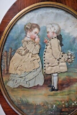 Circa 1790 French Sewing Box with Rare Dressed Watercolor of a Boy & Girl Signed