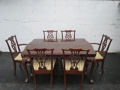 Mahogany Chippendale Ball and Claw Feet  Set of Dining Table and Six Chairs 8623