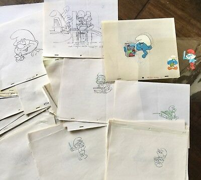 The Smurfs Lot Of 95 Original Drawings & Cels by Hanna Barbera