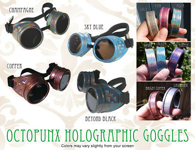 Octopunx Holographic Hand Painted Steampunk Goggles Limited Edition 11 Colors
