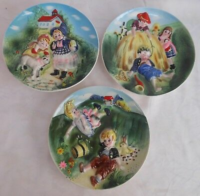 Vintage Lot Of 3 Nursery Rhyme Plates Wall Plaques Lefton? Made In Japan