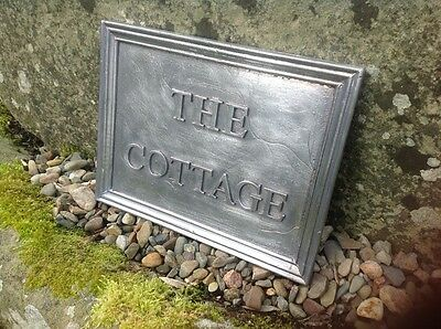 "SOLID LEAD HOUSE NAME PLAQUE. "" THE COTTAGE "" 30mm lettering"