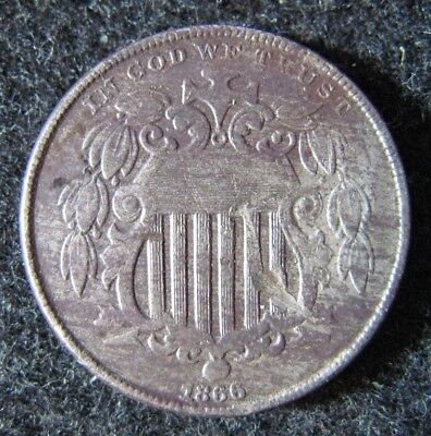 1866 US Shield Nickel Circulated with Rays