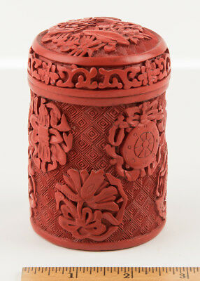 """Vintage Chinese Hand Carved Cinnabar Cigarette Box, 2.75"""" dia x 4"""" tall"""