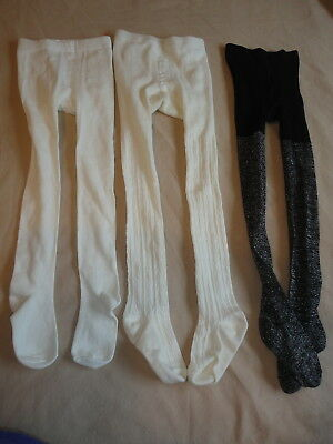 Girl's Tights Cream Ivory Texture Sparkly Black Size 4-6 Lot