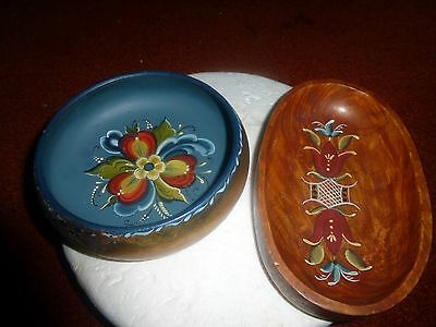 Scandinavian Rosemaling Painted Wooden Bowl's-Must See!