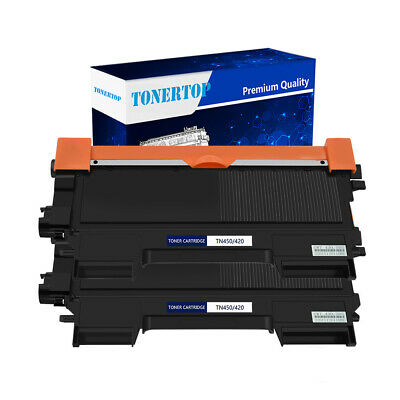 2 Pack High Yield Toner Black for Brother TN450 TN-450 HL-2240 2270DW MFC-7360N