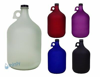 1 Gallon Frosted Glass Water Bottle Jug Canteen Brew Container 128 oz Colors New
